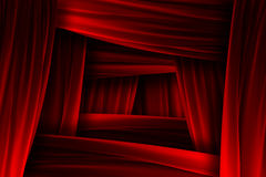 Red curtain frame illusion Royalty Free Stock Photography