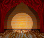 Red curtain in front of brick wall and wooden floor with lightin. G, Template for product display and copy space, interior theater, interior stage background Stock Images
