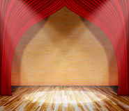 Red curtain in front of brick wall and wooden floor with lighting. Template for product display and copy space, interior theater, interior stage background Stock Photo