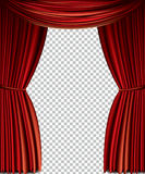 Red curtain. Full vector isolated on a transparent background Royalty Free Stock Photo