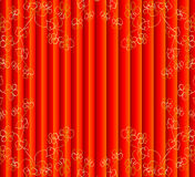 Red curtain with gold flowers Royalty Free Stock Images
