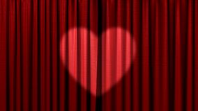 Red curtain with the heart Stock Photos
