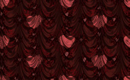 Red curtain with heart pattern Stock Images