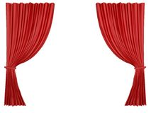 Red curtain isolated at white background Stock Images