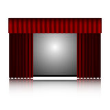 Red curtain and movie screen Stock Images