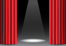 Red curtain open on black with spot light design stage show vector. Illustration Stock Image