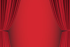 Red curtain opened . Royalty Free Stock Image