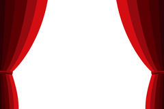 Red curtain opened on a white background. Royalty Free Stock Photo
