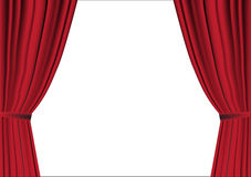 Red curtain opened on white Royalty Free Stock Image