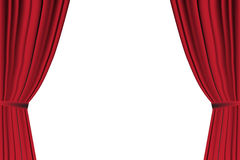 Red curtain opened on white background. Stock Photo