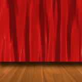 Red Curtain With Parquet Floor Stock Photo