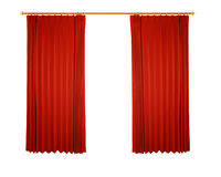 Red curtain (with path) Stock Photo