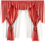Red curtain with pelmet  on a white background. 3d. Royalty Free Stock Images