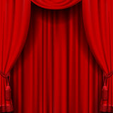 Red curtain. Raster version of vector image of red curtain. Square theater background. Artistic poster. There is in addition a vector format (EPS 10 Stock Photos