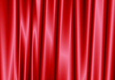 Red curtain reflect with light spot on background. Royalty Free Stock Photos