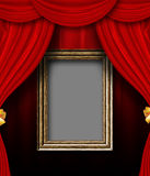 Red curtain room with wooden frame Stock Photo
