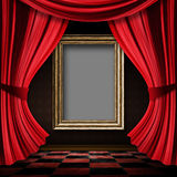 Red curtain room with wooden frame Royalty Free Stock Photography