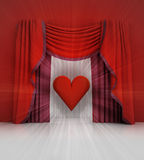 Red curtain scene with red heart and flare Royalty Free Stock Image