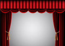 Red curtain and scenic screen Stock Image