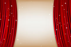 Red curtain with shining little stars and copy space Royalty Free Stock Photo