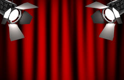 Red curtain with spotlights Royalty Free Stock Photography