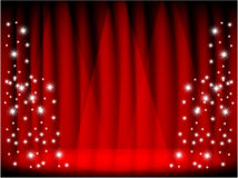 RED CURTAIN & STAGE. RED CURTAIN & THEATRE STAGE.3d effect Royalty Free Stock Photography