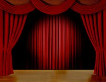 Red curtain on stage Stock Photo