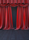 Red curtain stage. Stock Photo