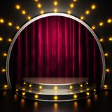 Red curtain stage with lights vector illustration
