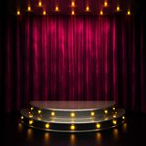 Red curtain stage with lights Stock Image