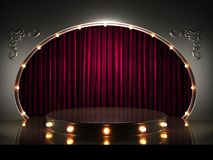 Red curtain stage with lights royalty free illustration