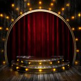 Red curtain stage with lights Royalty Free Stock Photos
