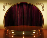 Red curtain stage with lights Stock Photos