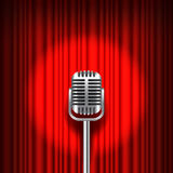 Red curtain and stage with microphone vector Royalty Free Stock Photos