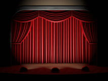 Red curtain and stage spotlights Stock Photos