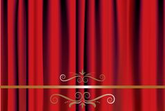 Red Curtain. Stage Theater Drapes with floral design element Stock Images