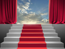 Red curtain. Stairs and red curtain in the evening light royalty free stock image