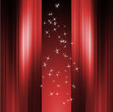 Red curtain and stars stock illustration