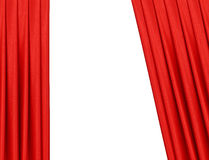 Red curtain on theater or cinema stage slightly open Stock Photos
