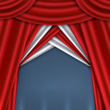 Red curtain. On theater or cinema stags. Vector illustration Royalty Free Stock Photos