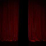 Red curtain in theater. Royalty Free Stock Photography
