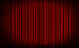 Red curtain in theater. Red curtain with spot light on theater or cinema stage Stock Photo