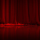Red curtain in theater. Royalty Free Stock Image