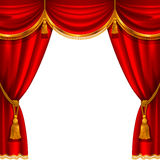 Red curtain. Theater stage with red curtain. Detailed vector illustration Royalty Free Stock Photography