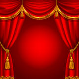 Red curtain. Theater stage with red curtain. Detailed vector illustration Stock Image