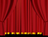 Red curtain in theater. Vector Royalty Free Stock Images
