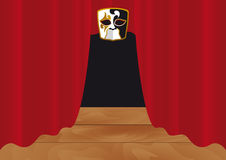 Red curtain in theater. Vector theater mask. Stage with red curtain. Theatrical illustration Royalty Free Stock Images