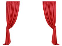 Red curtain of a theater. On a white background 3d rendering vector illustration