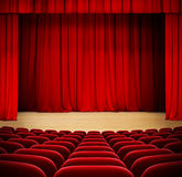Red curtain on theater wood stage with red velvet Stock Images