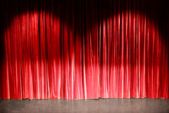 Red curtain in a theatre Stock Photos